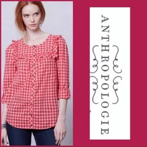 Anthropologie   Holding Horses Red Gingham Top 0